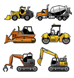 Heavy machinery in set vector