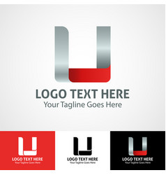 Hi-tech trendy initial icon logo u vector