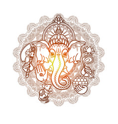 hindu god ganesha hand drawn tribal style vector image