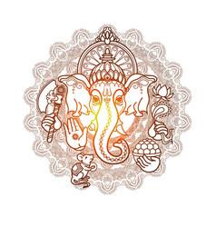 Hindu god ganesha hand drawn tribal style vector