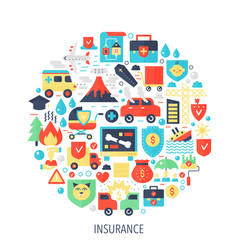Insurance flat infographics icons in circle vector