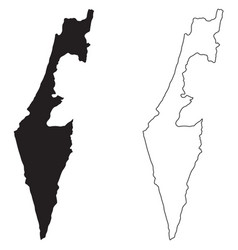 israel country map black silhouette and outline vector image
