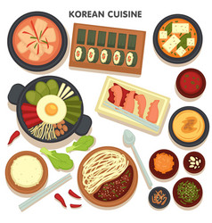 Korean cuisine set dishes with veggies and vector