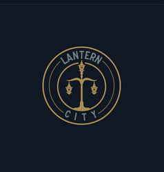 lantern vintage logo inspiration in gold metallic vector image