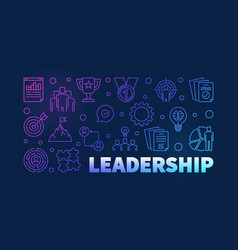 leadership colored horizontal outline vector image
