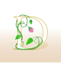 Letter d with an vintage floral pattern vector