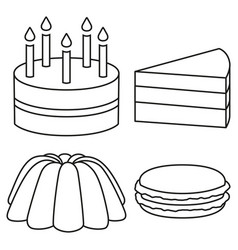 line art black and white 4 dessert set vector image