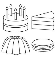 Line art black and white 4 dessert set vector