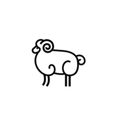 Linear stylized drawing of ram vector