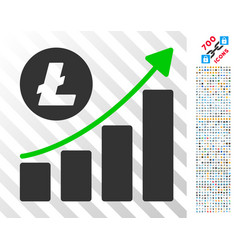 litecoin growing trend flat icon with bonus vector image