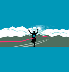 Marathon runner finishing wide format vector