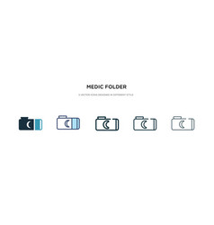 Medic folder icon in different style two colored vector