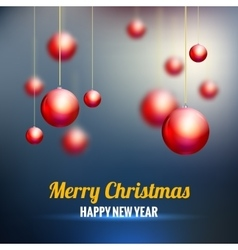 Merry Christmas background with red balls vector image