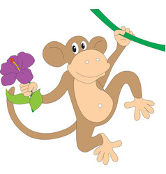 Monkey with a bouquet of flowers vector