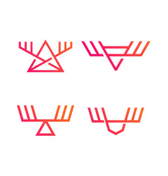 Moose triangle antler logo abstract geometric vector