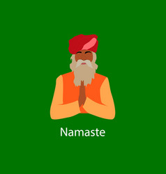 Namaste text and indian man in national costume vector