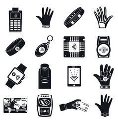 nfc technology purchase icon set simple style vector image