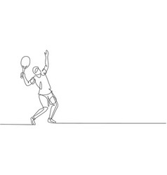 One continuous line drawing young happy tennis vector