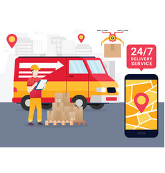 Online tracking the movement of parcels vector