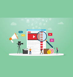 online video search concept technology with vector image