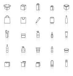 Packaging line icons with reflect on white vector