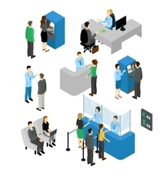 People In Bank Isometric Set vector