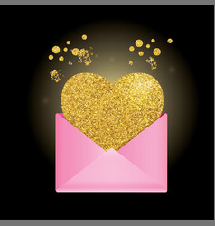 Pink envelope on a black background golden heart vector