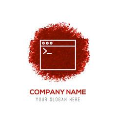 programming code icon - red watercolor circle vector image