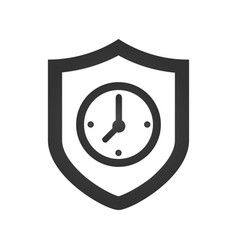 Protected guard shield clock icon safety badge vector