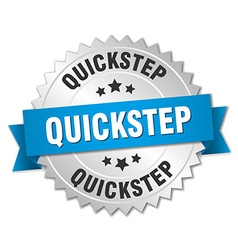 Quickstep 3d silver badge with blue ribbon vector