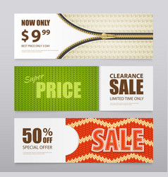 realistic knitted texture sale banners vector image