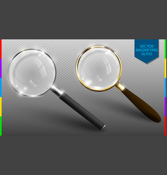 realistic magnifying glass set on vector image