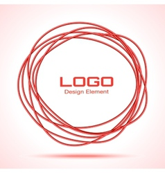 Red Hand Drawn Thin Ware Circle vector image