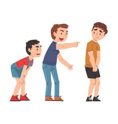 Sad boy bullied others two boys mocking vector