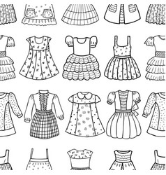seamless pattern of various dresses for a little vector image