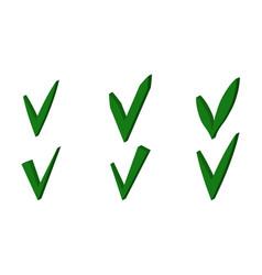 set green 3d checkmark ok sign checkmark vector image