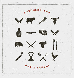 Set of butchery and barbecue symbols vector