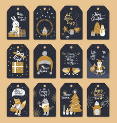 set of christmas ready to use tags with xmas vector image