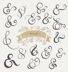 Set vintage sign and ampersand on white vector