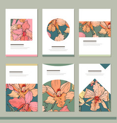 set with six floral tropic templates vector image