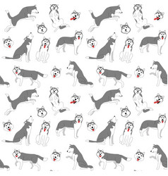 siberian husky seamless pattern background vector image