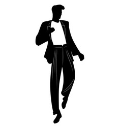 silhouette of man dancing new wave music wearing vector image