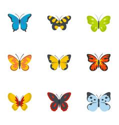 Silkworm icons set flat style vector