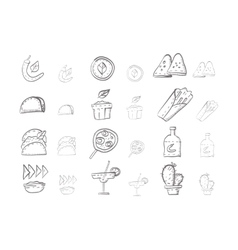 Sketch icons collection for mexican food vector image