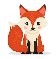 Sly fox sitting on a white wild animal vector