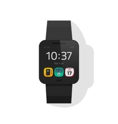 Smart watch black digital hand clock vector image