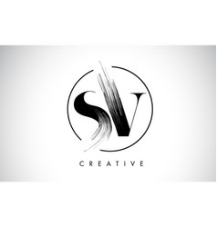 Sv brush stroke letter logo design black paint vector