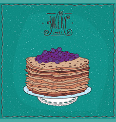 Thin pancakes with blue berries on lacy napkin vector