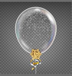 Transparent balloon snowflake gold bow vector