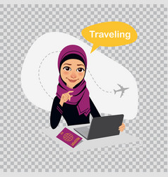 travel to world arab woman works on laptop vector image